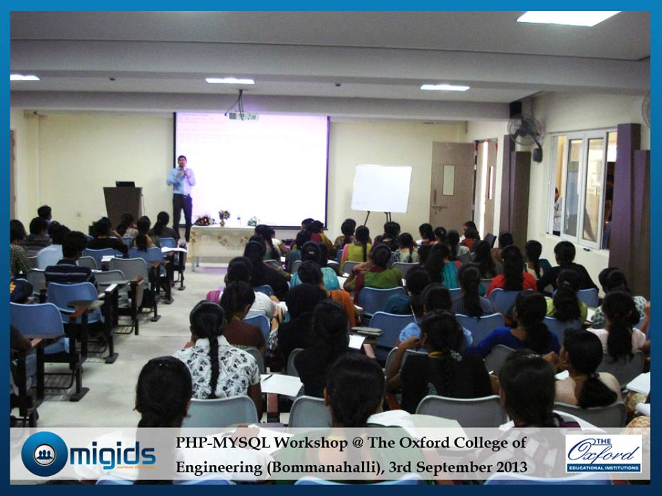 Workshop By Migids Software at Oxford, Bangalore [Topics:HTML, PHP, Wordpress, Joommla ]